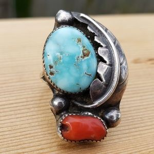 Turquoise Coral Sterling Silver Navajo Ring 7.25